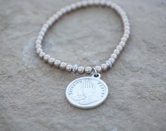 Petite Metallic Matte Gold Bracelet with silver Serenity Prayer Medallion