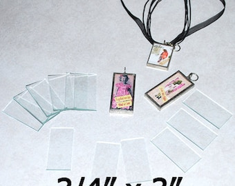 3/4 x 3 Inch Rectangles (10 pack) .75 x 3 Clear Pendant Glass for Collage Art Soldered Jewelry.  Flat both sides.