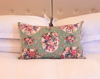 Large Vintage Floral Cushion | Green Barkcloth | Duck Feather Filled