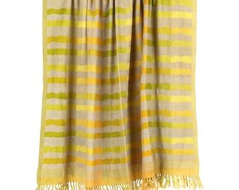 Ocean Waves Wool Silk Blend Throw
