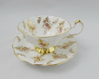 Queen Anne Tea Cup and Saucer with Gold Decor, Vintage Bone China, Gold Thistles