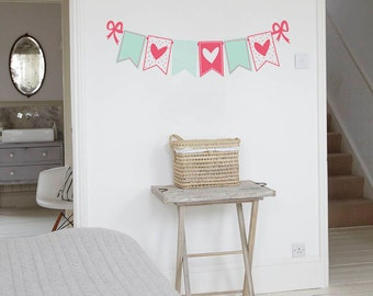 heart bunting wall sticker decal