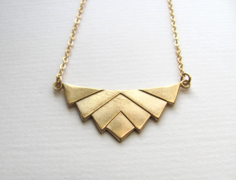50 off art deco chevron pendant bib necklace on 14k gold zoom mozeypictures Choice Image