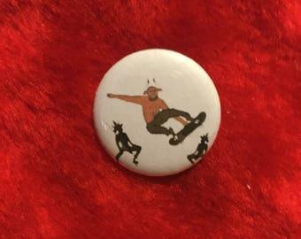 "Devil skater 1"" button Satan"