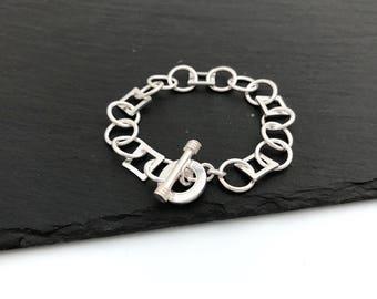 925 Silver Toggle Bracelet, Chain Link Bracelet, Bracelet Blank, DIY Charm Bracelet, Soldered, Jewelry Making, Gift, Made In Italy, 1pc