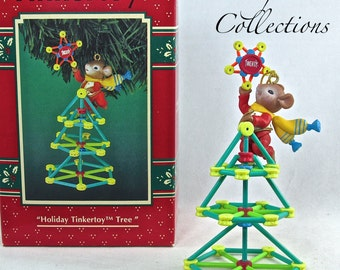 Enesco Holiday TinkerToy Tree Treasury of Christmas Ornament Mice Hasbro Mouse Tinker Toy  Vintage Mouse