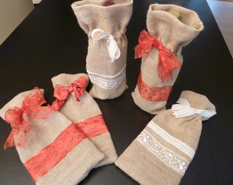 Handmade Burlap Wine Gift Bags/Totes and table runners