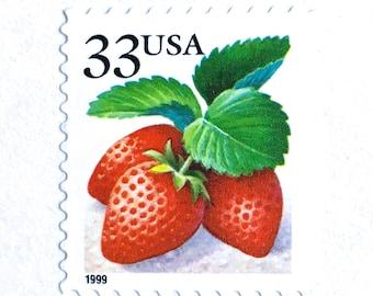 10 Unused Strawberry Stamps // 33 Cent Vintage Strawberry Postage Stamps // Vintage Red Berry Stamps for Mailing