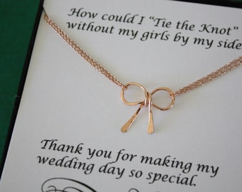 8 Tie the Knot Necklaces Rose Gold, Rose Gold Bow, Bridesmaid Gift, Gold Bow, Rose Gold, Pink Gold Knot Necklace, Thank you card