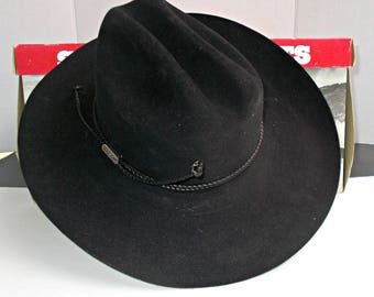 NIB 4X Beaver Hat,6 7/8 Black Stetson Beaver Cowboy Hat,Black Stetson Hat,Stetson Beaver Hat,Stetson Cowboy Hat,Cowboy Hat Beaver,Cowboy Hat