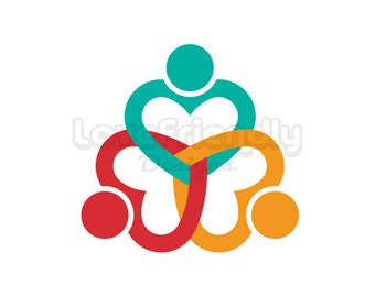 Clip Art People Three Heart Persons. Concept for a Friendship, Teamwork, Social Network