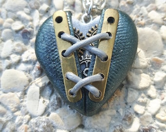 Laced 2 polymer clay steampunk Heart Necklace.