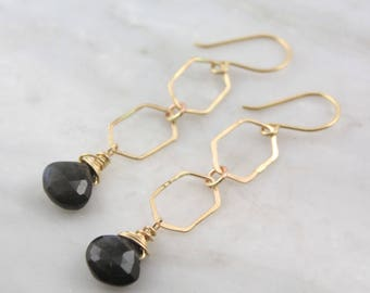 Gold Hexagon Links and Labradorite Dangle Earrings