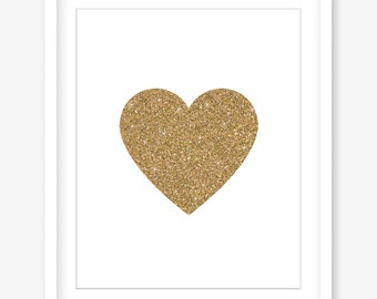 Printable art - gold printable poster - gold glitter print - valentines printable wall art - heart print - love print - DIGITAL DOWNLOAD