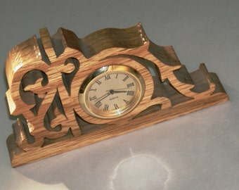 Vintage Clock Wood Handcrafted Scroll Saw Detailed Cut Golden Oak Finished Design Quartz Watch  Made in USA Cutout Wood Mini Watch Clock