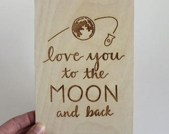 Love Wood Card, Greeting Cards, Valentine's Day Gift, 5th Anniversary Gift, Love You to the Moon and Back, Nursery Decor, Card for Boyfriend