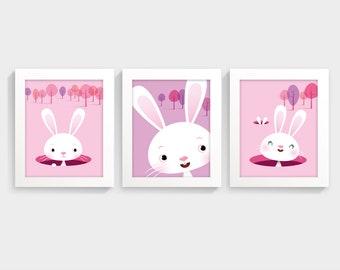 Girls nursery art print, cute bunny print, girls room decor, girls wall art, new baby gift, nursery set girl, girl nursery, pink room decor
