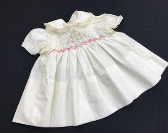 Vintage Baby Girl's Size 12 Months Polly Flinders White with Embroidery Christmas Dress