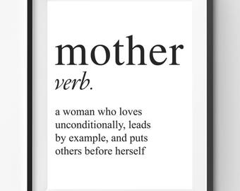Mothers Day Printable, Mother definition Print, Mothers Day Print, Mothers Day Gift, Mom Print, Mother Quote Art, Mother Verb Poster