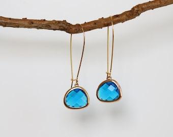 Zircon Quartz Earrings - Gold Dangle Earrings - Stone Earrings - Drop Earrings - Birthstone Earrings - Blue Zircon Jewelry - Zircon Quartz