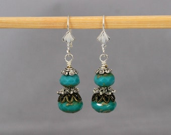 Mixed Metal Turquoise Dangle Earrings, Turquoise Jewelry, Short Earrings, Blue Earrings, Silver and Brass
