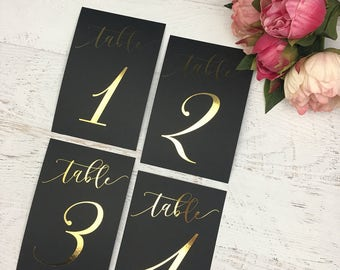 Black and Gold Table Numbers - Gold Table Numbers - Wedding Table Markers - Wedding Table Decor - Gold Table Decor - Black Table Markers