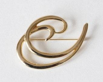 Vintage Goldtone Flourish Brooch