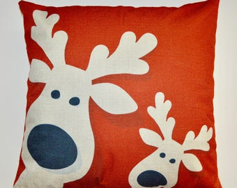 Cushion Cover with Christmas Design Decorative Pillowcase-Bed/Kids/sofa 18 x 18 inch, (Deer)