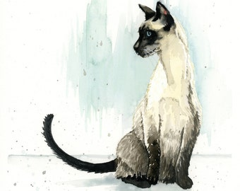 "Siamese Cat Print - Watercolor Art - Cat - Pet - Home Decor - Wall Art - 5""x7"", 8""x10"", 11""x14"""