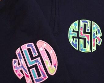 Monogram Sweatshirt, YOUTH Monogram Sweathshirt, Lilly Pulitzer Monogram Sweatshirt, Quarter Zip Monogram Sweatshirt, Appliqué Sweatshirt