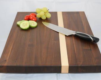 Walnut and Maple Cutting Board, Chopping Board, Butcher's Block, Large, Cheese Board, Edge Grain