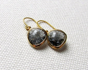 Charcoal Gray Dangle Earrings Gold Dainty Earrings Gray Drop Earrings Minimalist Modern Bridal