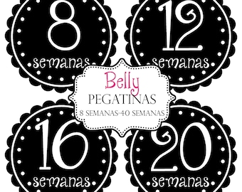 Baby Belly Bump Photo Prop Stickers, Spanish - Makes a Nice Gift For New Mom To Be- Pregnancy Maternity Preppy