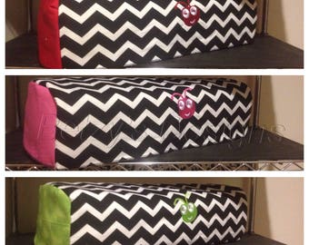 Embroidered Cricut Explore, Cricut Maker Quilted Cover,  Black / White Chevron Fabric, Choose Sides  Color!