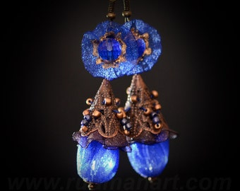 Vintage look Royal Blue-Rosy Brown earrings, Art Nuvo, victorian, shabby chic, boho.
