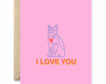 Neon I love you Cat- Cat Greeting Card