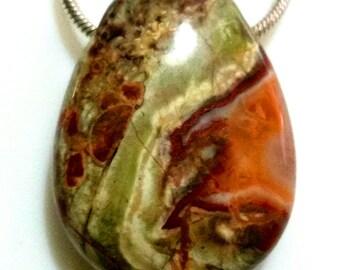 Gemstone Drops, Rhyolith, 3 cm, drop pendant, red, brown, AA quality