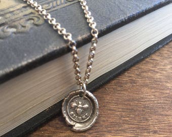 Bee Wax Seal Necklace Oxidized Sterling Silver Necklace Women's necklace