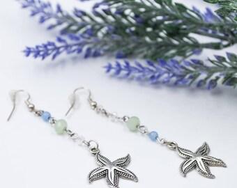 Neptunia long pastel bead silver starfish earrings