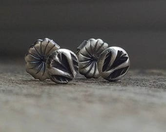 Forged Sterling Silver Stud Earrings | 5.5mm Palm Frond Leaves | Post & Swirl Back, Oxidized Patina // Ready to Ship
