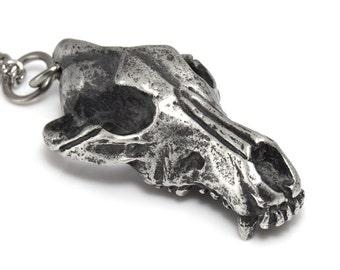 Antiqued Wolf Skull Pendant Necklace, Werewolf Jewelry, Spirit Animal