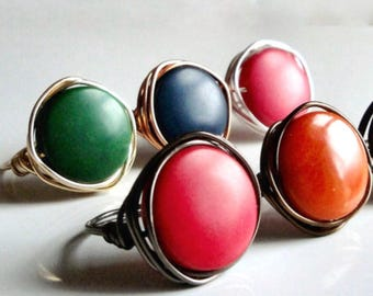 Tagua Bead Rings, Choose Disc Color: Red Orange Green Blue Pink Black White - Silver Gold Gunmetal Bronze Copper Wire - Custom Made Any Size
