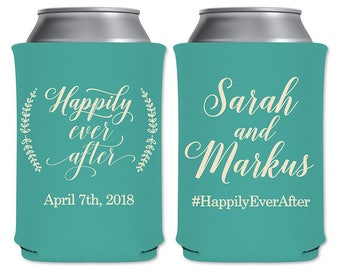 Neoprene Coolers Customized Beer Can Beverage Insulator Personalized Wedding Favor | Happily Ever After | Beer/Can Holder | READ DESCRIPTION