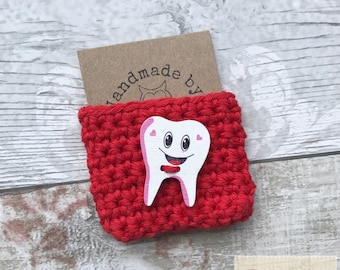 Tooth Fairy / Tooth Fairy Pouch / Red Crochet Pocket / Tooth Keepsake / Tooth Fairy Pocket