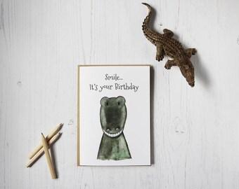 Smile... It's your birthday greeting card - Birthday card - Crocodile - Children's Birthday - Safari - Zoo - Animal Cards