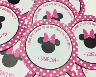 24 Minnie Mouse Birthday Stickers - Party Favor Stickers - Minnie Mouse Birthday Decorations - Minnie Mouse