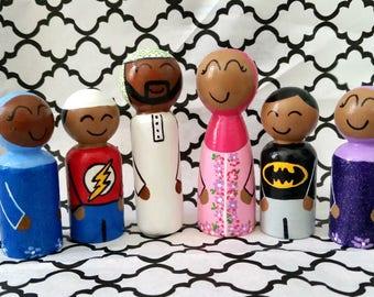Muslim Doll Family of 6/Custom Doll Family/Muslim Dolls/Islamic Toys/Peg Dolls/Cake Topper/Eid Gift/Peg Doll Topper/Personalized Dolls