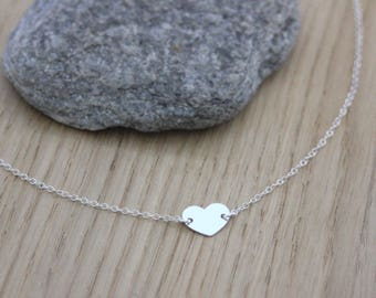 Heart Sterling silver necklace - fine silver necklace - minimalist necklace - silver choker - heart necklace ST valentine - love necklace