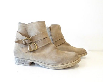 Men's Vintage ESPRIT Zip Beige Real Leather Suede Ankle Boots Size UK8 EUR42