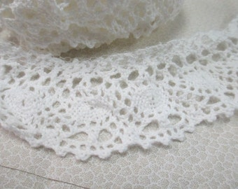 """Vintage white crocheted  2 yards  and 2"""" wide for clothing and craft sewing"""